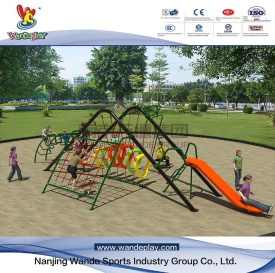 Outdoor Rope Climbing Net with Plastic Slide for Children