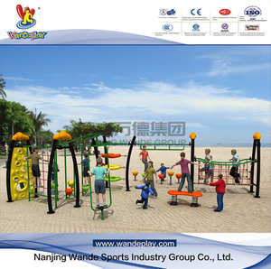 Outdoor Climbing Frame Rope Net with Plastic Slide