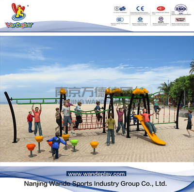 Outdoor Playground Rope Climbing Net with Plastic Slide