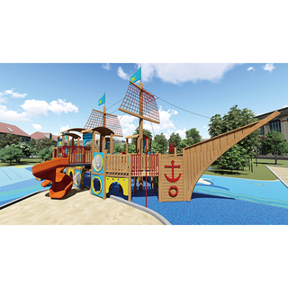 Amusement Park Kid Playground Wooden Pirate Ship Playset for Toddler