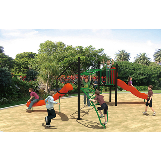 Outdoor Rope Net Climbing Playground with Slides Physical Training